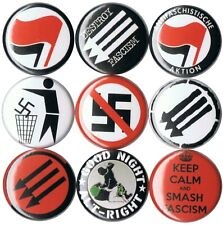 Antifa set of 9 pins buttons antifascist anti-fascist anti-nazi stop fascism