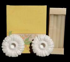 Vintage Avon Fancy Flower Pastel White Easter Candle Holders Set - Nib