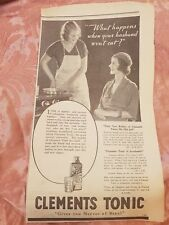 Clements Tonic 1933 Advertisement