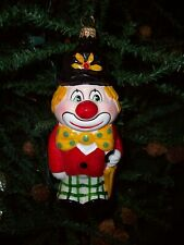 """Hand Painted Clown Ornament~ Blown Glass~ New Old Store Stock Item~ 6"""" Tall"""