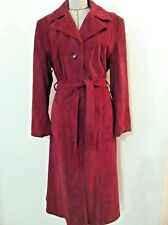 Vintage 70 women coat suede leather raspberry red trench long mid calf size S M