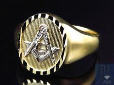 Mens 10k Yellow Gold Lab Diamond Square Shape Design Fashion Pinky Ring (13MM)