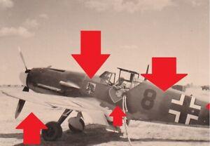 Foto,ME 109,JG 54 Doppelemblem,Grünherz,Löwe,Tarnung,Flugzeug,Kennung,Jäger,camo