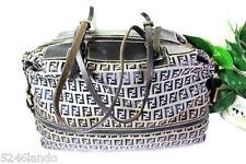 Vintage FENDI FF Monogrammed Thick Canvas & Leather Duffle Tote Handbag Italy