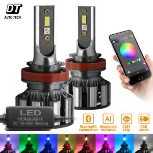 2-in-1 H11 CSP LED Headlight Kit 540W 7600LM +RGB Bluetooth Phone Control