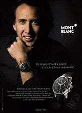 Nicholas Cage 1-pg clipping 2007 ad for Mont Blanc watches
