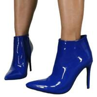 New Womens Blue Ankle Boots Side Zip Stiletto High Heel Pointy Toe Shoes Party L