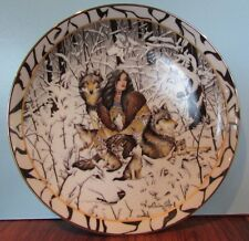 Native Harmony Plate Diana Casey Where Paths Meet Woman Wolves Cubs Snow 1996