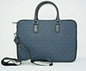 Michael Kors Men's Jet Set Signature Logo Baltic Blue Large Briefcase Bag