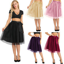 Women's Summer A-Line Tulle Skirt Elastic Waist Formal Evening Party Gown Prom