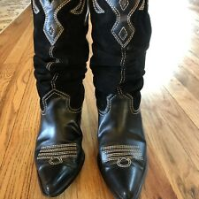 Women's Size 8 Cowboy Boots Rampage Leather Cut Out Black Contrast Stitching