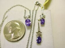 Amethyst Necklace & Lever Earrings (SIM) 4.25tcw.Platinum over Brass/20 chain