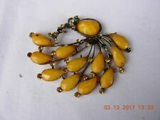 Vintage Peacock pendant with stunning faceted yellow stones & other bright stone