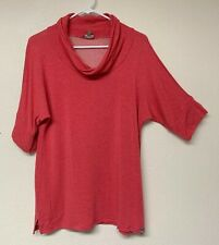 1ed4ae5d5e4148 NEW T By Talbots L Petite Pink Red Short Sleeve Cowl Neck