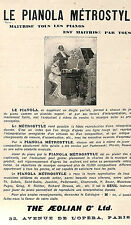 PARIS OPERA LE PIANO PIANOLA METROSTYLE THE AEOLIAN C° PUBLICITE 1905