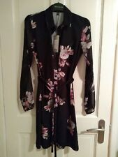 Black floral Lipsy London shirt dress size 8, long sheer sleeves