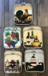 "2 Vintage Style Theme Pot Holders - 7"" x 7""- Farm Wine Chicken Grapes Lighthouse"