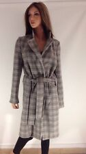 Kenneth Cole Women's Gray Plaid Wool Blend Belted Coat , Size 8