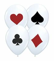 "Poker Card Suits Set 12"" Red Black White Latex Balloons 1-100ct - by Party Decor"
