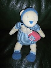 DOUDOU MOULIN ROTY OURS MUSICALE LILA ET PATACHON BLEUE + BEBE ROSE