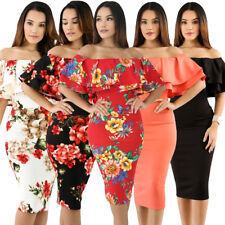 Size 8 - 18 Sexy Floral Layered Ruffle Off Shoulder Curvaceous Midi Party Dress