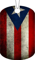 Puerto Rico Flag Adult Dog Tag Chain Necklace Dirty Version
