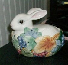 Fitz Floyd nesting bunny rabbit covered candy condiment jar dish Excellent