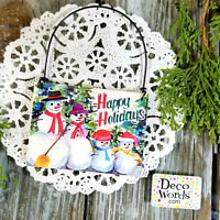 DECO Mini Gift Sign Ornament HAPPY HOLIDAYS Sign Wire Hanger Snowman Family USA