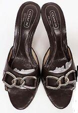 Coach  Toniann Mules Sandals Shoes ChainLink Buckle Black Leather  Heels Sz 6B