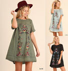 S-2X UMGEE Floral Embroidered Lace Trim Boho Dress Black Blue Peasant Tunic Top