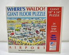 """Where's Waldo? Airport - 24 Pieces 18"""" x 24"""" Great American Puzzle Factory 1991"""