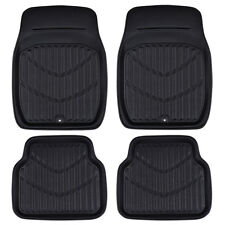 Car Floor Mat Universal Premium Black Side Front With Rear Faux Leather 4 PC