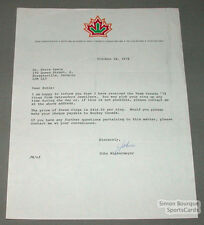 1978 Team Canada Hockey Signed Letter By J. Wintermayer