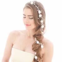 Bridal Fake Pearl Hair Vine Long Hairpiece Headband Wedding Hair Accessories