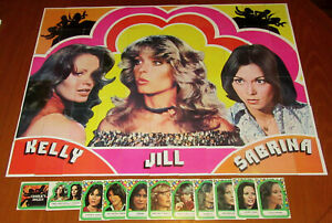 VINTAGE Charlies Angels 1977 Nr MINT Series 1 to 4 complete card & Sticker Sets
