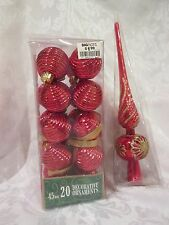 Red & Gold Safety Plastic Christmas Ball Ornaments & Tree Topper  NWT 21 pieces