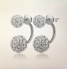 Double Sided Synthetic Crystal Ball Stud Earrings for Women Wedding Jewelry
