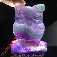 "2"" Hand Carved Rainbow fluorite owl Natural stone Quartz Crystal skull healing"