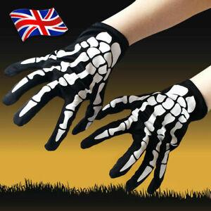 Adult Skeleton Gloves Bone Print Halloween Fancy Dress Party Cosplay Accessories