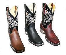 Hombre Cuero Genuino Piel de vaca botas de vaquero occidental Cuadrado Toe Rodeo Artesanal