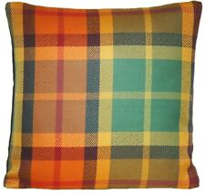 Tartan Cushion Cover Marvic Fabric Checks Woven Mustard Green Orange Square 16""