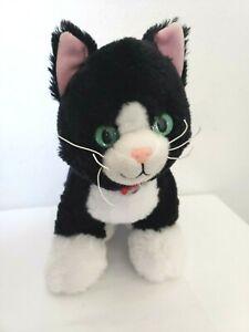Build A Bear Tuxedo Cat promise Pets Plush Stuffed Animal Black White Red Collar