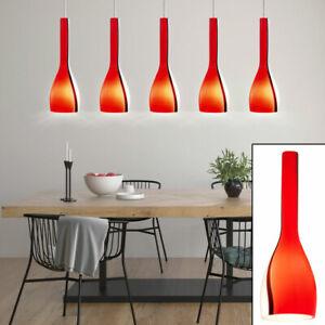 Suspension lustre luminaire plafond nickel mat verre rouge blanc cuisine lampe