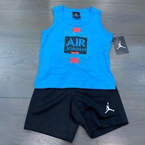 Nike Air Jordan Toddler Blue Red Tank Top & Black Short Set Size 3T New