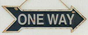 ARROW SHAPE Metal Tin Sign Wall Decor ONE WAY