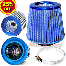 "3"" 76mm Inlet HIGH FLOW Short Ram Cold Air Intake ROUND Cone MESH Filter BLUE"