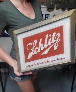 Vintage Schlitz Beer Bar Display Advertising Sign Glass Front Metal Frame