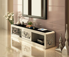 Fiore TV Unit White High Gloss With Black Tempered Glass & Storage Cabinet