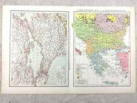 1895 Map of Constantinople Sea of Marmara Balkans Antique 19th Century Victorian
