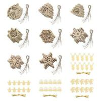 10x Wood Christmas Tree Hanging Tags with String Xmas Decor Home Ornament Craft